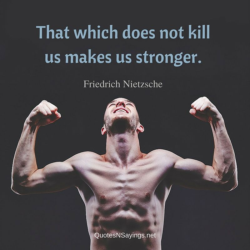 That which does not kill us makes us stronger ~ Friedrich Nietzsche quote about strength