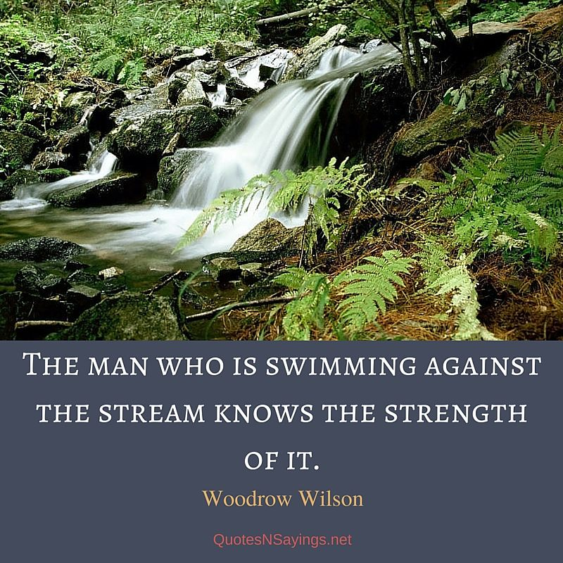 The man who is swimming against the stream knows the strength of it ~ Woodrow Wilson quote about strength