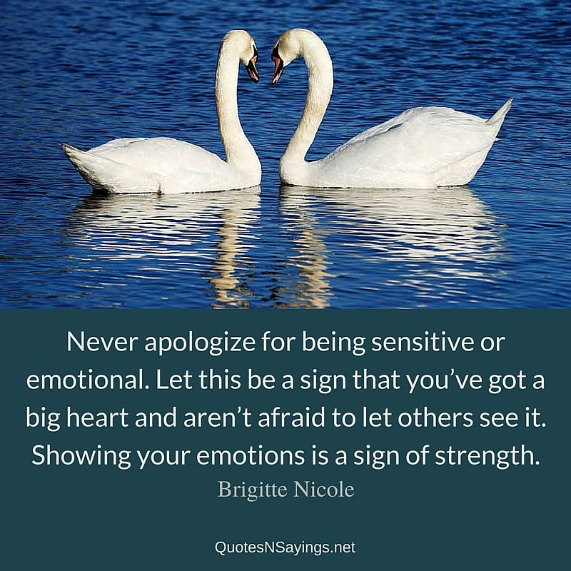 Never apologize for being sensitive or emotional. Let this be a sign that you've got a big heart and aren't afraid to let others see it. Showing your emotions is a sign of strength ~ Brigitte Nicole quote about strength