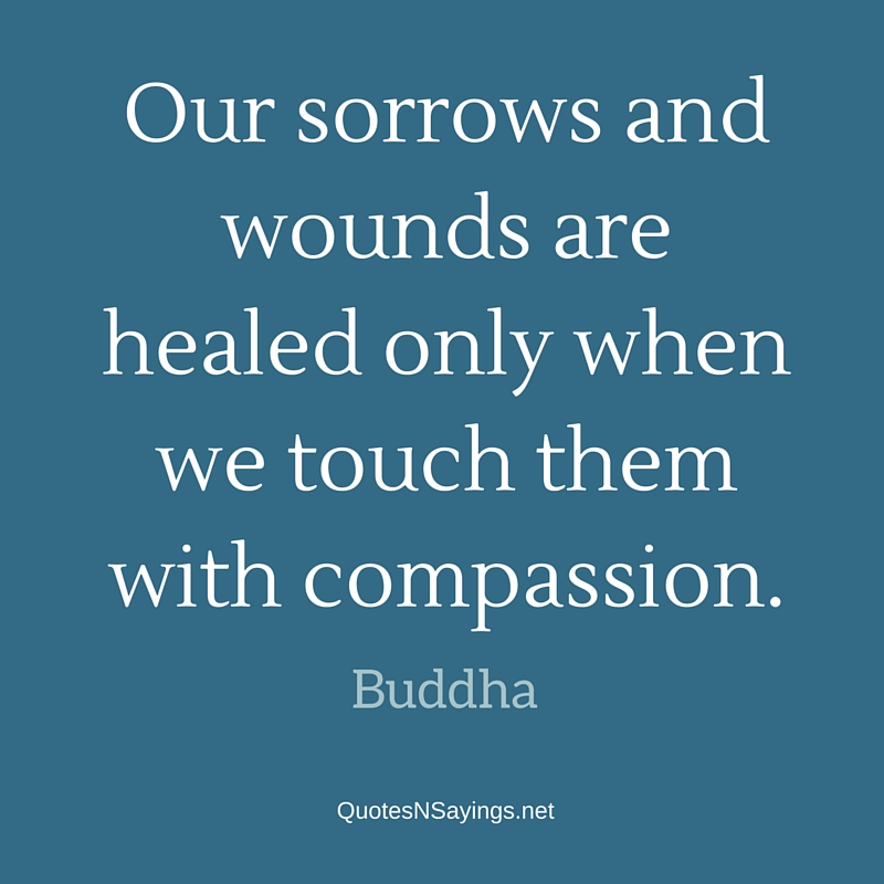 Our sorrows and wounds are healed only when we touch them with compassion ~ Buddha quote about healing