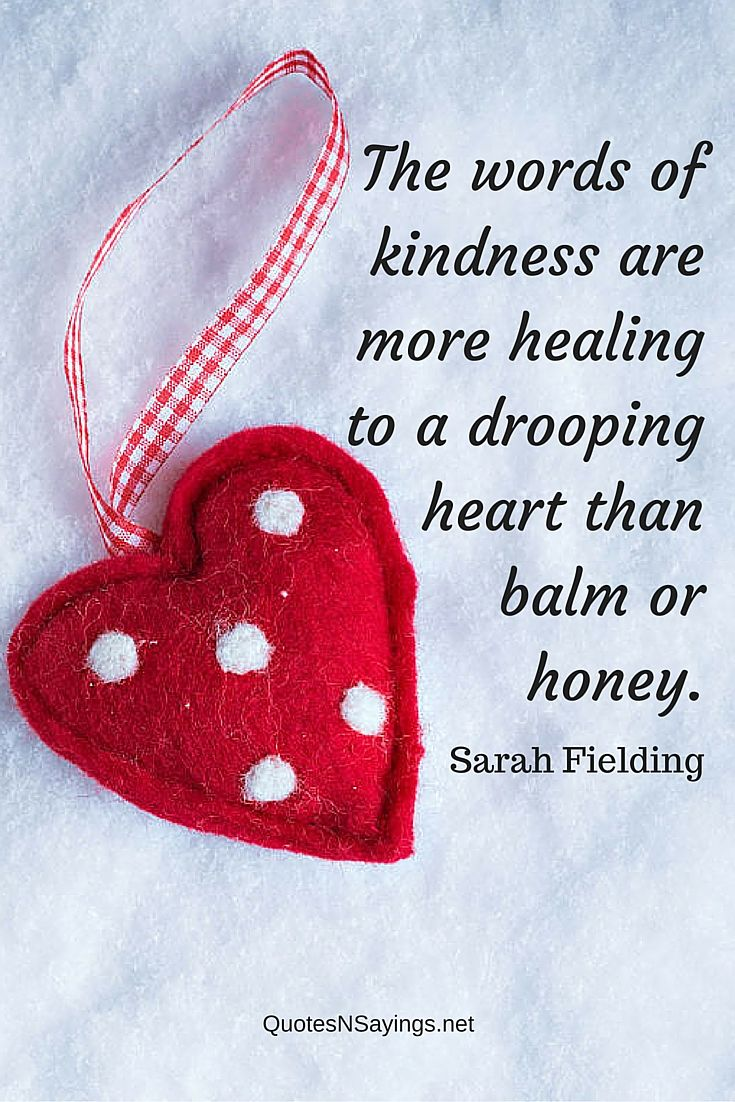 The words of kindness are more healing to a drooping heart than balm or honey ~ Sarah Fielding quote about healing