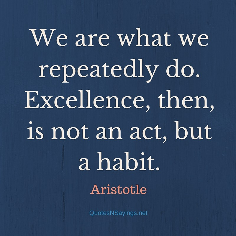 We are what we repeatedly do. Excellence, then, is not an act, but a habit. - Aristotle quote about excellence