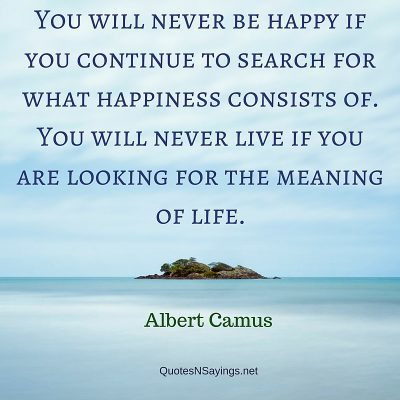 Albert Camus Quote – You will never be happy …