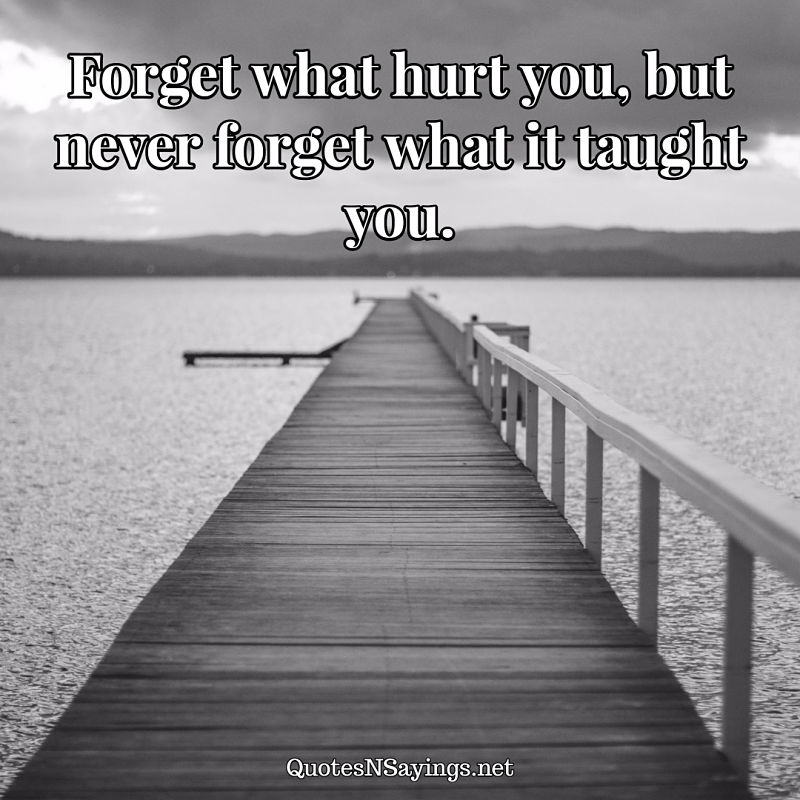 Forget what hurt you, but never forget what it taught you. - Anonymous quote