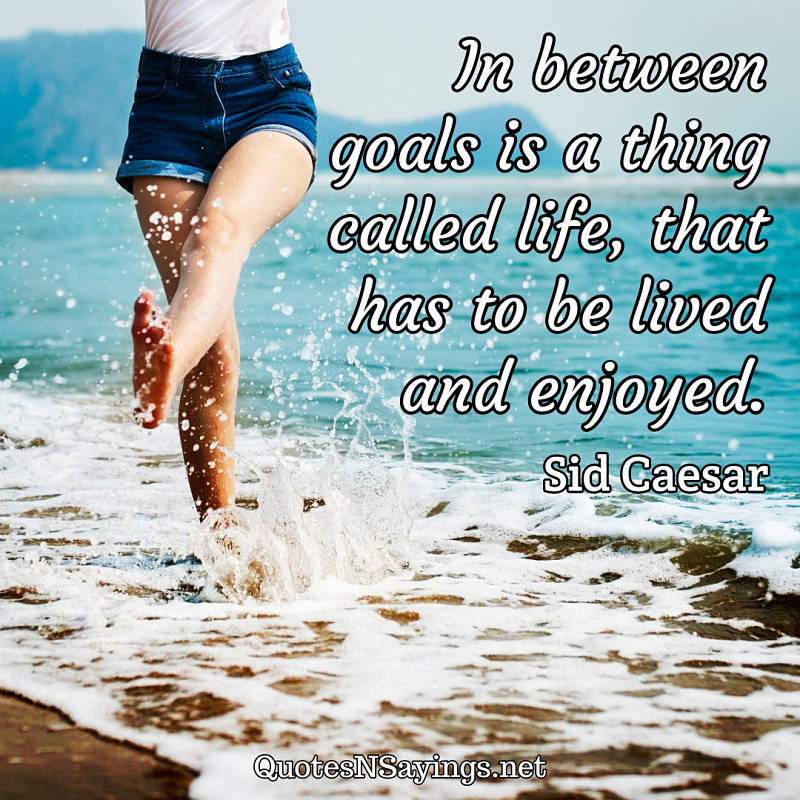 In between goals is a thing called life, that has to be lived and enjoyed. - Sid Caesar quote