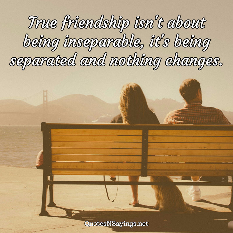 True friendship isn't about being inseparable, it's being separated and nothing changes. - Anonymous quote