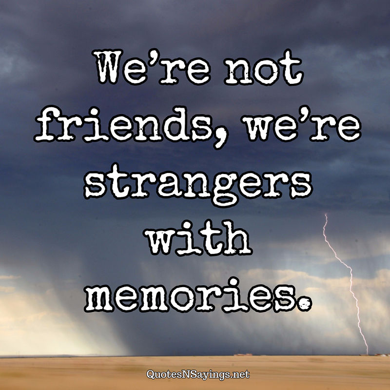 We're not friends, we're strangers with memories. - Anonymous quote