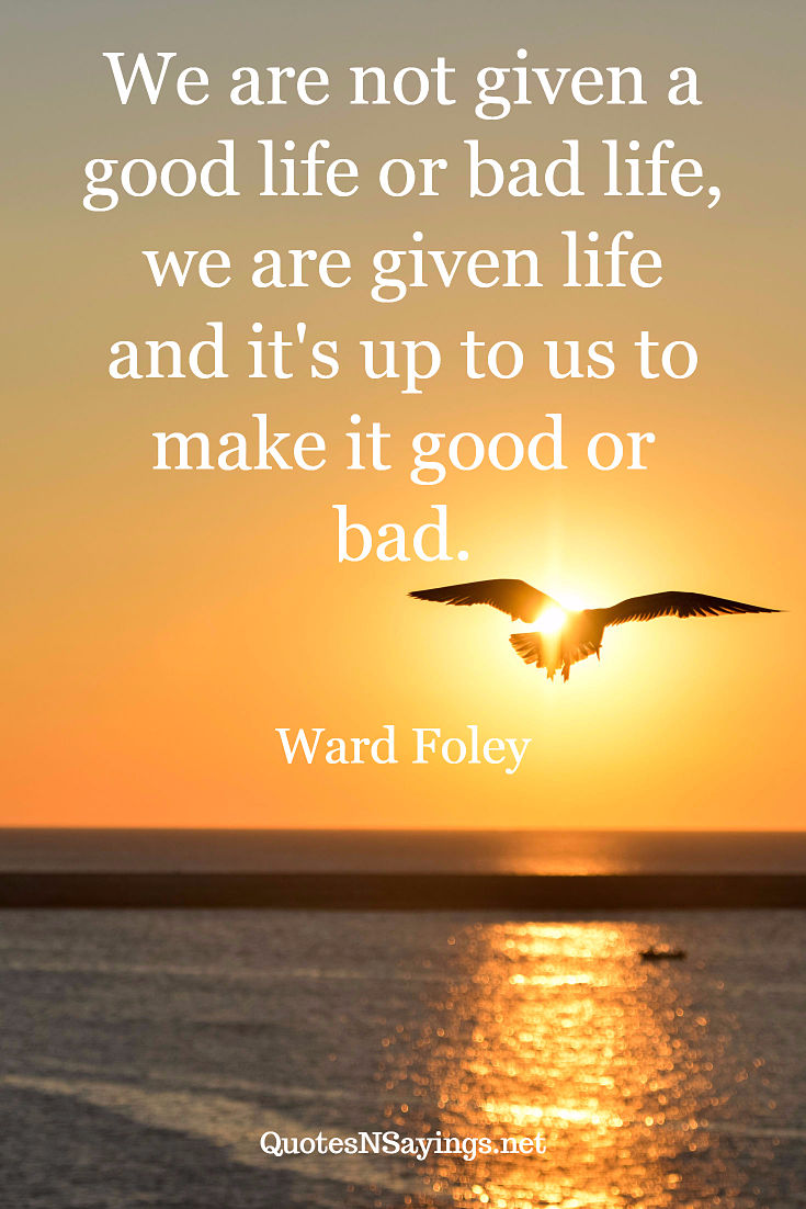 We are not given a good life or bad life, we are given life and it's up to us to make it good or bad. - Ward Foley quote