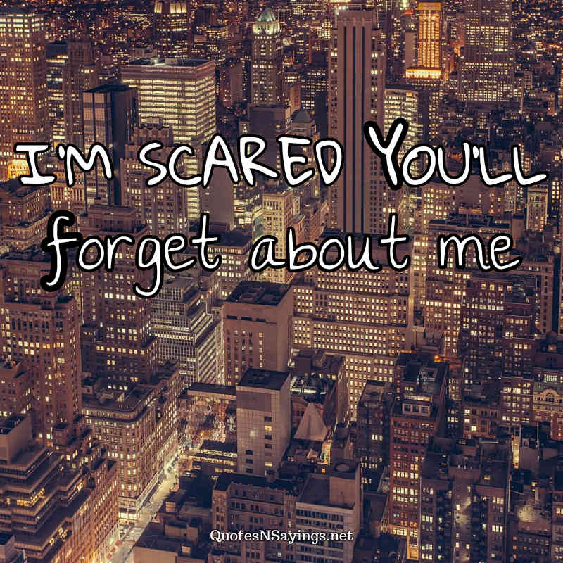 I'm scared you'll forget about me. - Anonymous quote